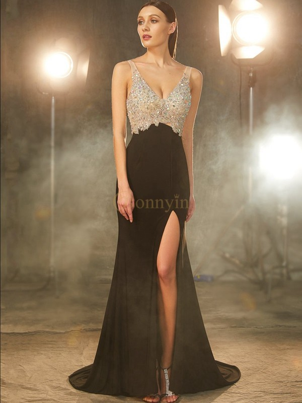Black Spandex V-neck Sheath/Column Sweep/Brush Train Prom Dresses