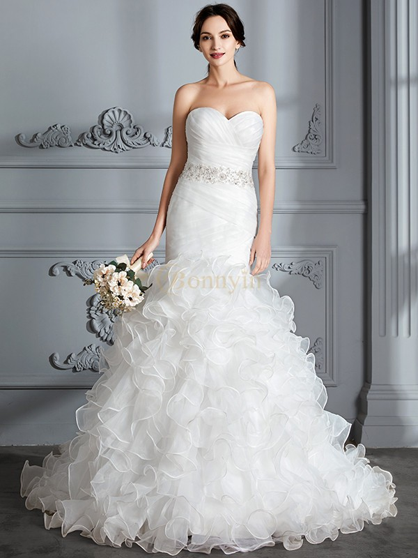 Ivory Satin Sweetheart Trumpet/Mermaid Sweep/Brush Train Wedding Dresses