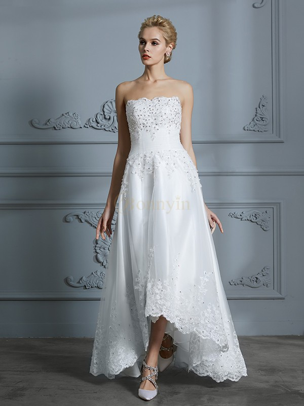 Ivory Tulle Sweetheart A-Line/Princess Asymmetrical Wedding Dresses