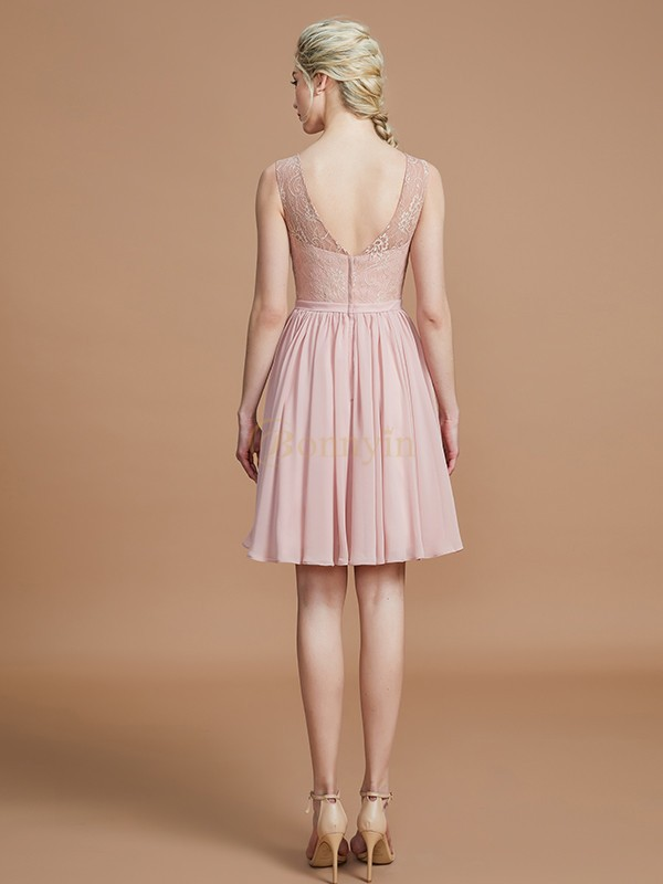 Pearl Pink Chiffon V-neck A-Line/Princess Short/Mini Bridesmaid Dresses