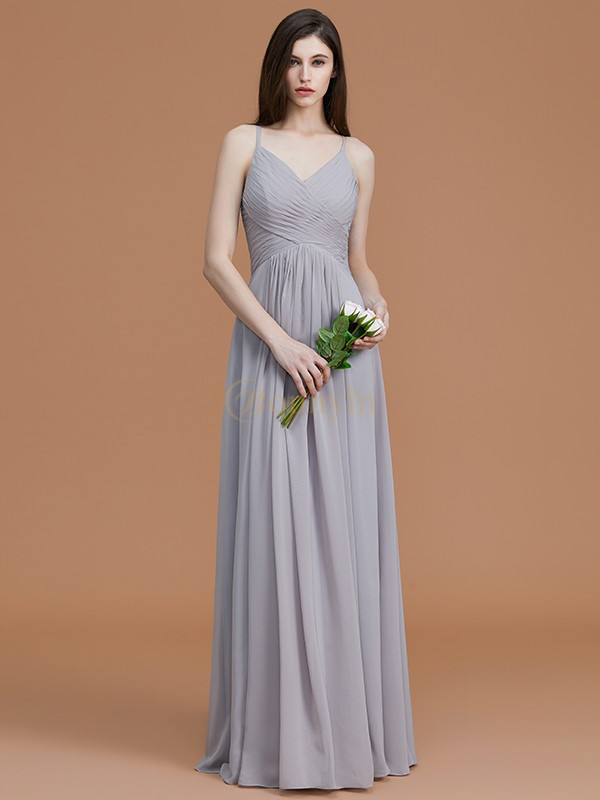 Silver Chiffon Spaghetti Straps A-Line/Princess Floor-Length Bridesmaid Dresses