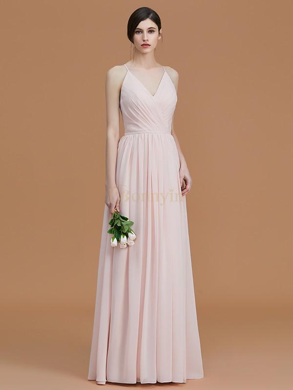 Pearl Pink Chiffon Spaghetti Straps A-Line/Princess Floor-Length Bridesmaid Dresses