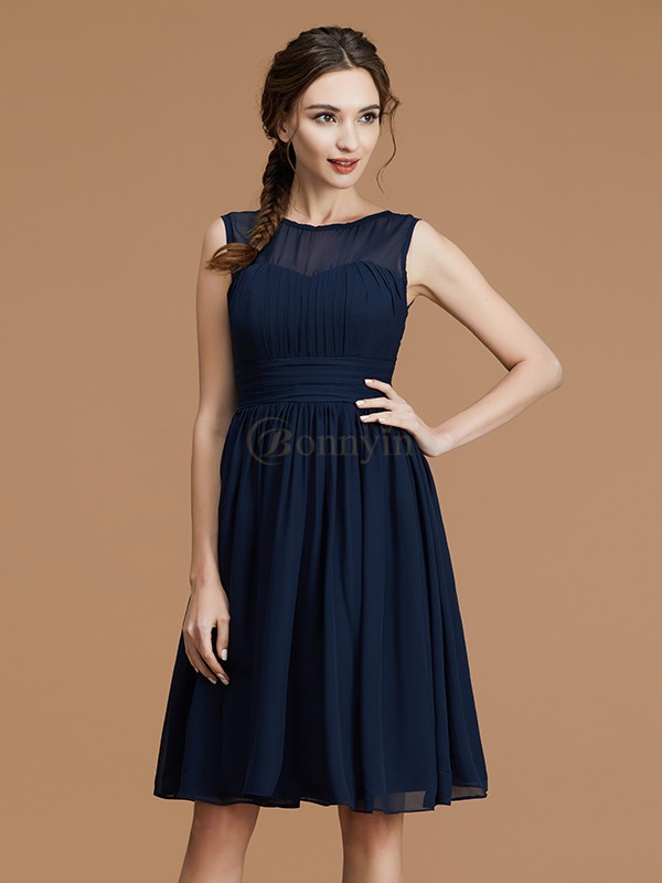 Dark Navy Chiffon Bateau A-Line/Princess Short/Mini Bridesmaid Dresses