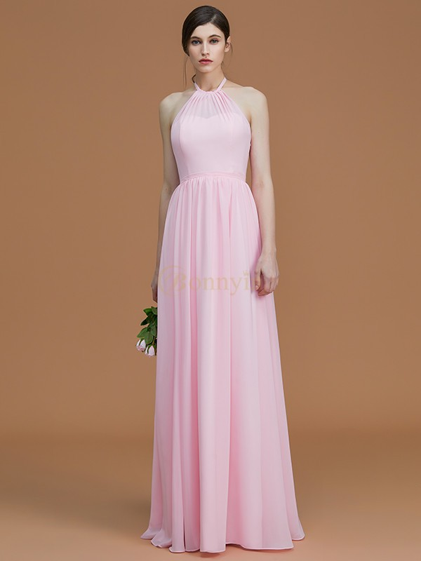 Pink Chiffon Halter A-Line/Princess Floor-Length Bridesmaid Dresses
