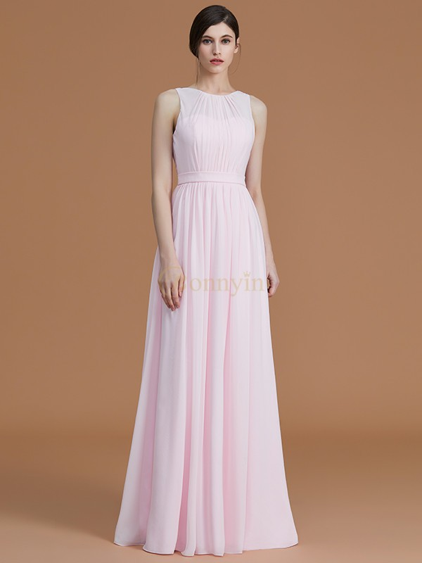 Pearl Pink Chiffon Jewel A-Line/Princess Floor-Length Bridesmaid Dresses