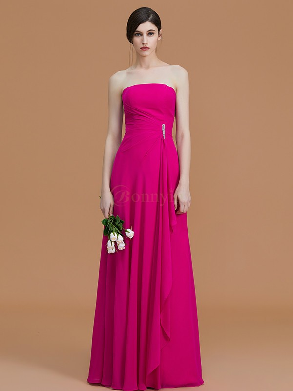 Fuchsia Chiffon Strapless A-Line/Princess Floor-Length Bridesmaid Dresses