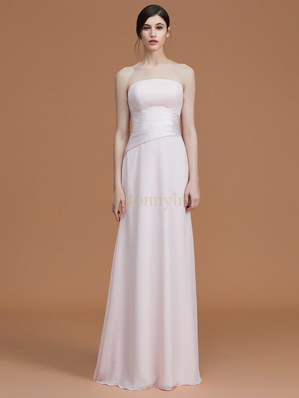 Pearl Pink Chiffon Strapless A-Line/Princess Floor-Length Bridesmaid Dresses