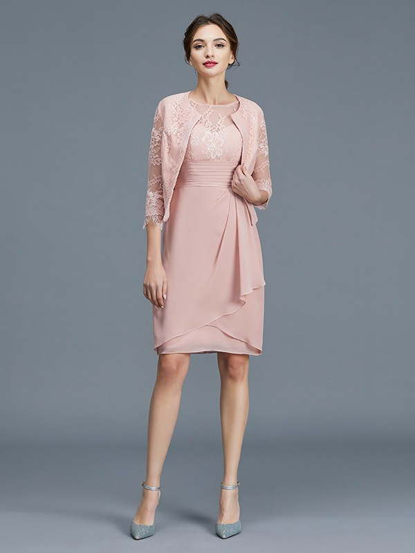 Pink Chiffon Sheer Neck Sheath/Column Knee-Length Mother of the Bride Dresses