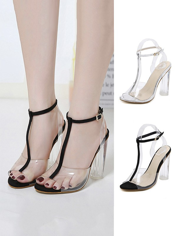 Women's Plastic Chunky Heel Peep Toe With Buckle Sandals