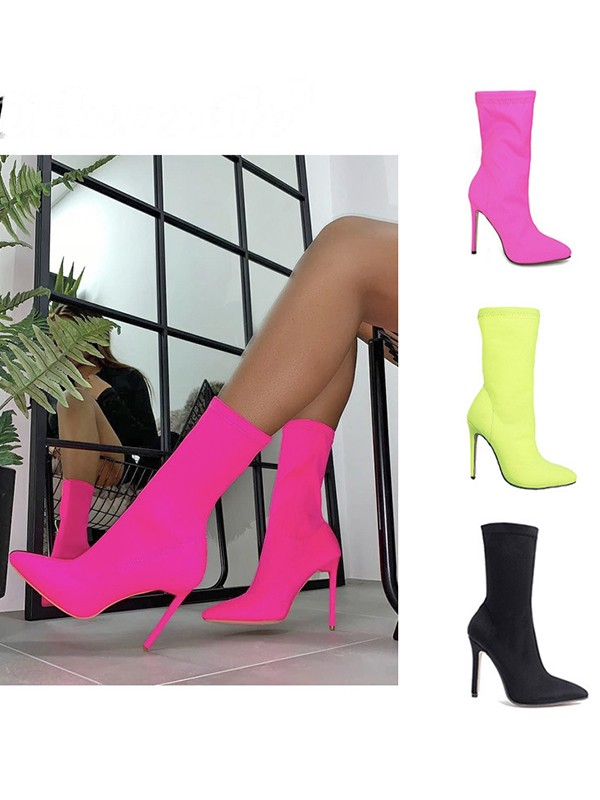 Women's Cotton Closed Toe Stiletto Heel Booties