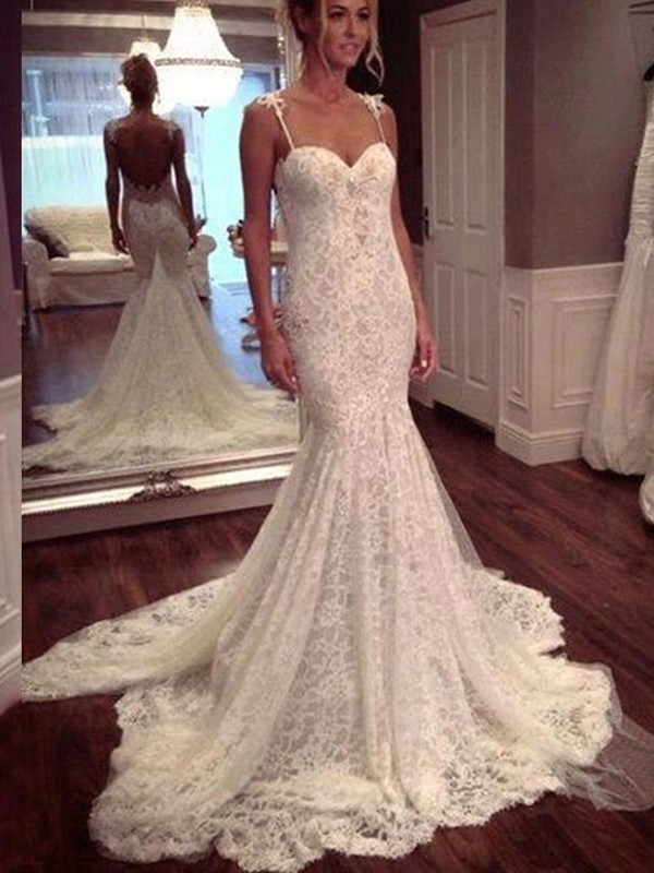 White Lace Spaghetti Straps Trumpet/Mermaid Court Train Wedding Dresses