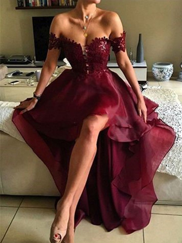 Burgundy Organza Off-the-Shoulder A-Line/Princess Asymmetrical Prom Dresses