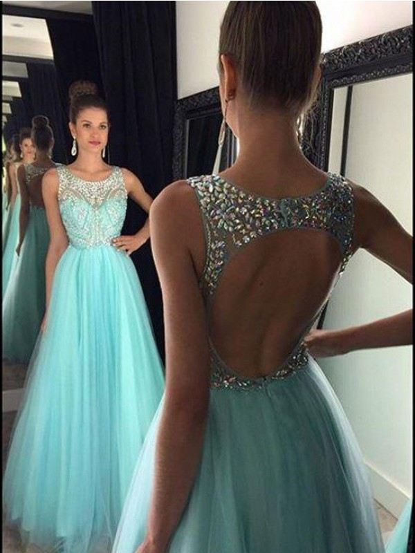 Blue Tulle Bateau A-Line/Princess Floor-Length Dresses
