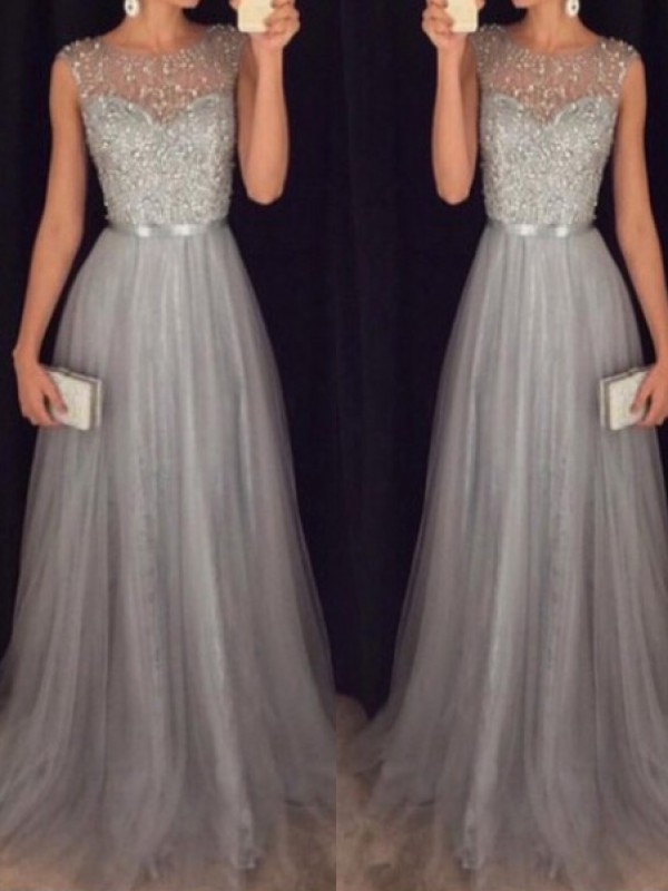Silver Tulle Scoop A-Line/Princess Sweep/Brush Train Dresses