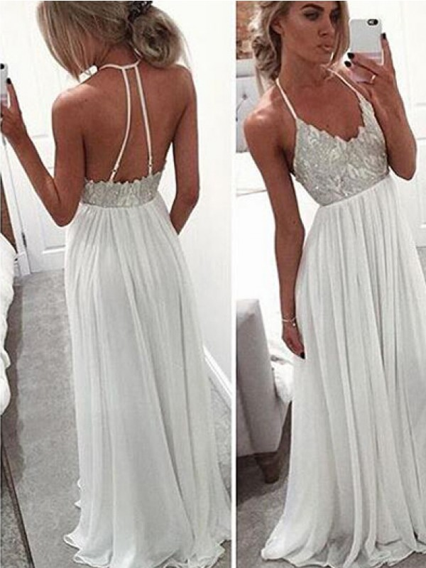 White Chiffon Halter A-Line/Princess Sweep/Brush Train Dresses