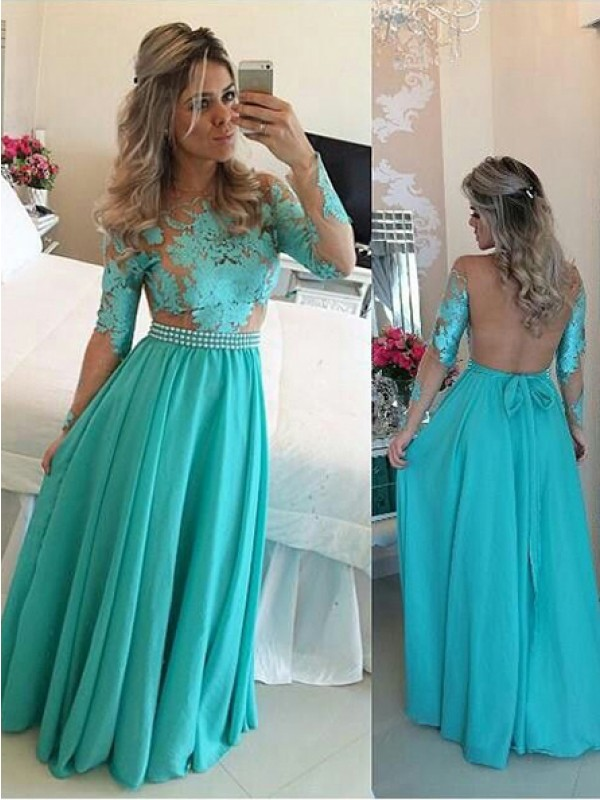 Blue Chiffon Scoop A-Line/Princess Floor-Length Dresses