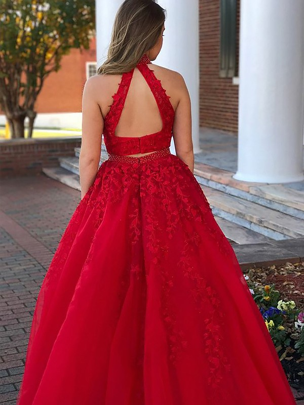 Red Tulle Halter A-Line/Princess Floor-Length Dresses