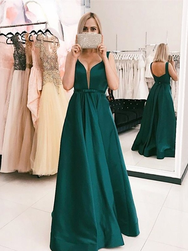 Dark Green Satin V-neck A-Line/Princess Sweep/Brush Train Dresses