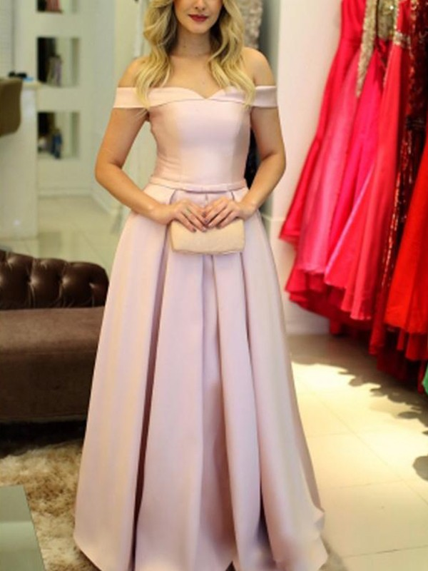 Pink Satin Off-the-Shoulder A-Line/Princess Floor-Length Dresses