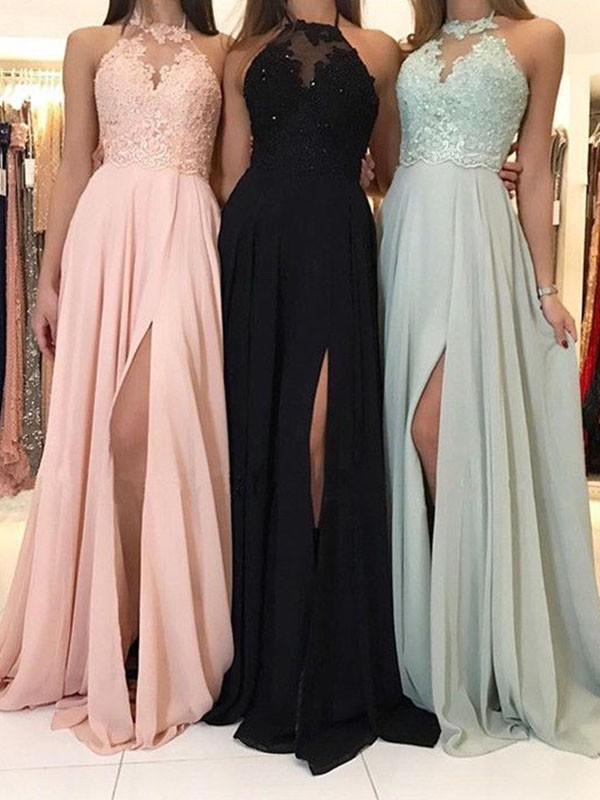 Pearl Pink Chiffon Halter A-Line/Princess Sweep/Brush Train Dresses
