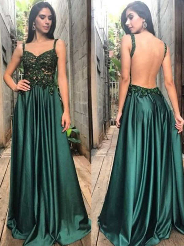 Dark Green Satin Straps A-Line/Princess Floor-Length Dresses