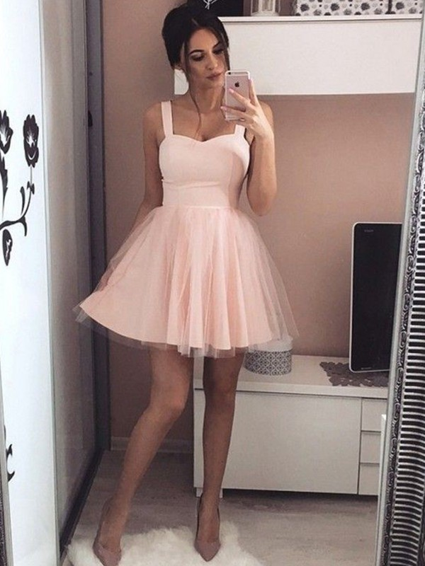 Pink Satin Straps A-Line/Princess Short/Mini Dresses