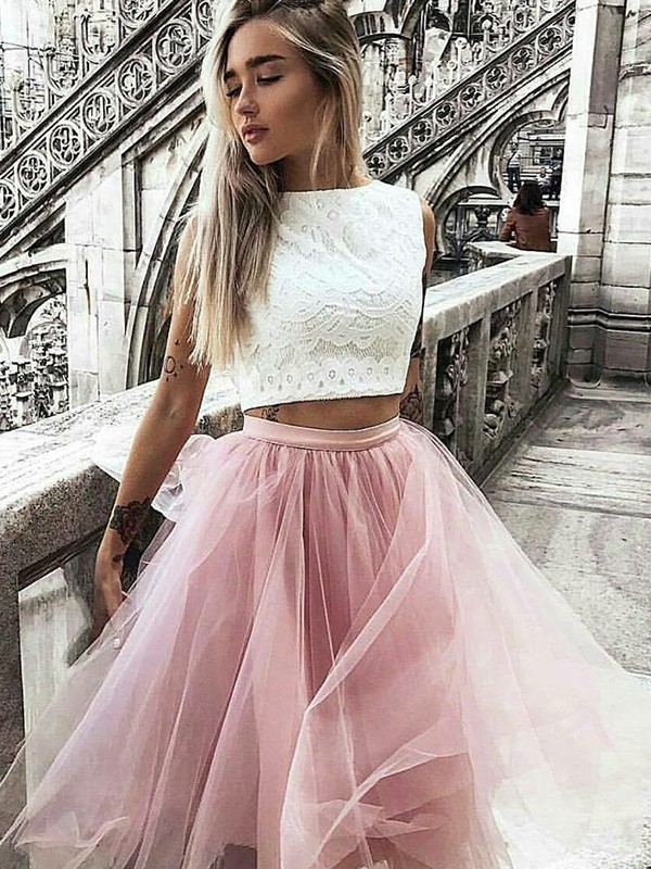 Pink Tulle Bateau A-Line/Princess Knee-Length Dresses