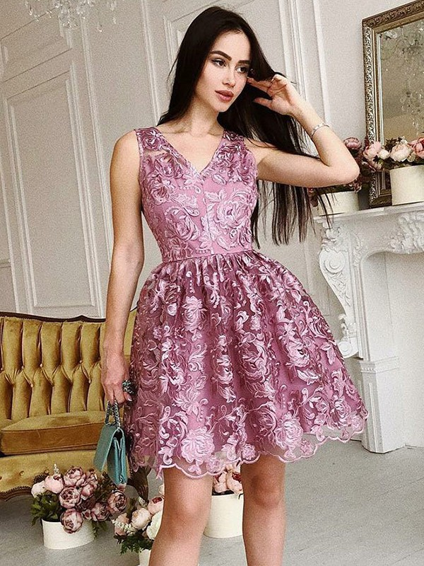 pink Organza V-Neck A-Line/Princess Short/Mini Dresses