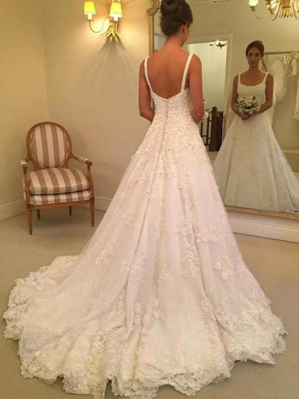 White Lace Square A-Line/Princess Court Train Wedding Dresses