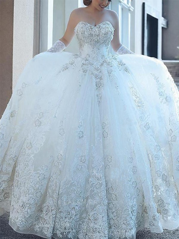 White Tulle Sweetheart Ball Gown Cathedral Train Wedding Dresses