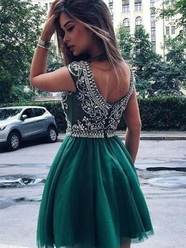 Green Tulle Scoop A-Line/Princess Short/Mini Dresses
