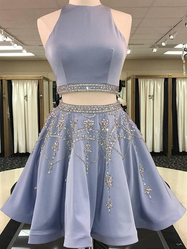 Light Sky Blue Satin Bateau A-Line/Princess Short/Mini Two Piece Dresses