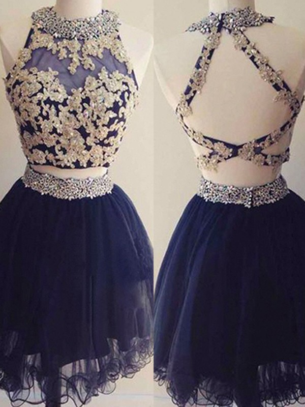 Dark Navy Tulle Halter A-Line/Princess Short/Mini Two Piece Dresses