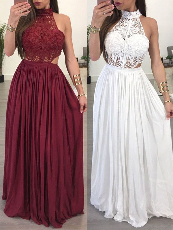 Burgundy Chiffon Halter A-Line/Princess Floor-Length Dresses