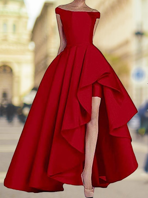 Red Satin Off-the-Shoulder A-Line/Princess Asymmetrical Dresses
