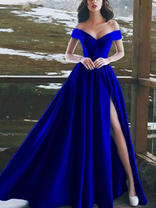 Royal Blue Satin Off-the-Shoulder A-Line/Princess Floor-Length Dresses