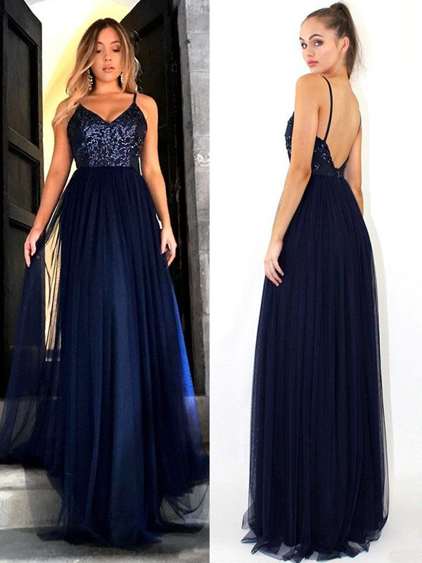 Dark Navy Tulle Straps A-Line/Princess Floor-Length Dresses