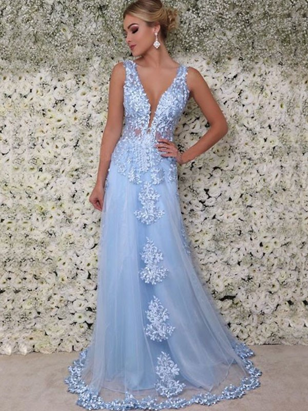 Light Sky Blue Tulle V-neck A-Line/Princess Floor-Length Dresses