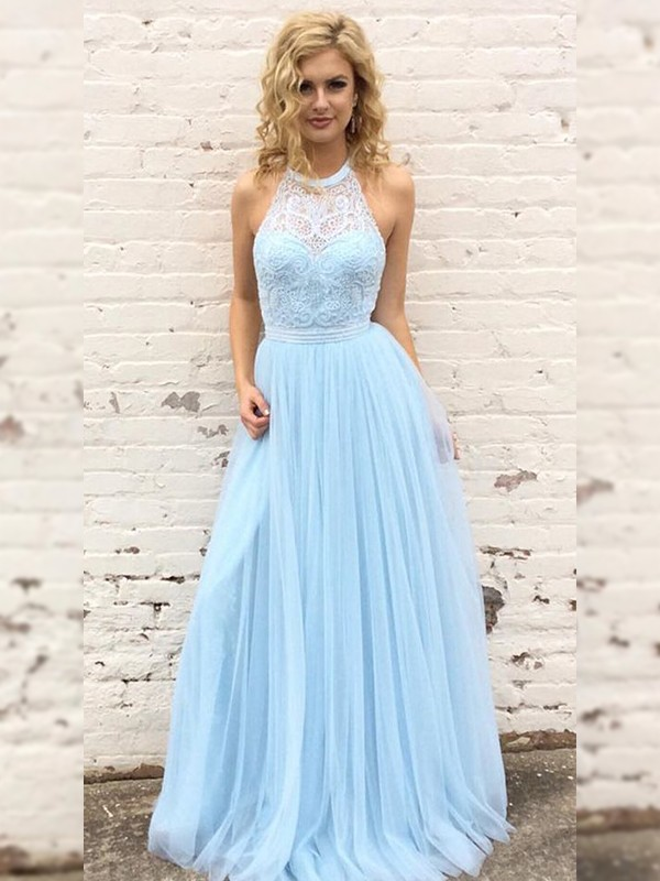 Light Sky Blue Tulle Halter A-Line/Princess Floor-Length Dresses