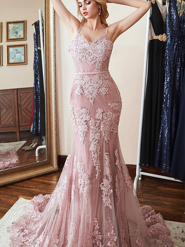 Pink Lace Spaghetti Straps Trumpet/Mermaid Sweep/Brush Train Dresses