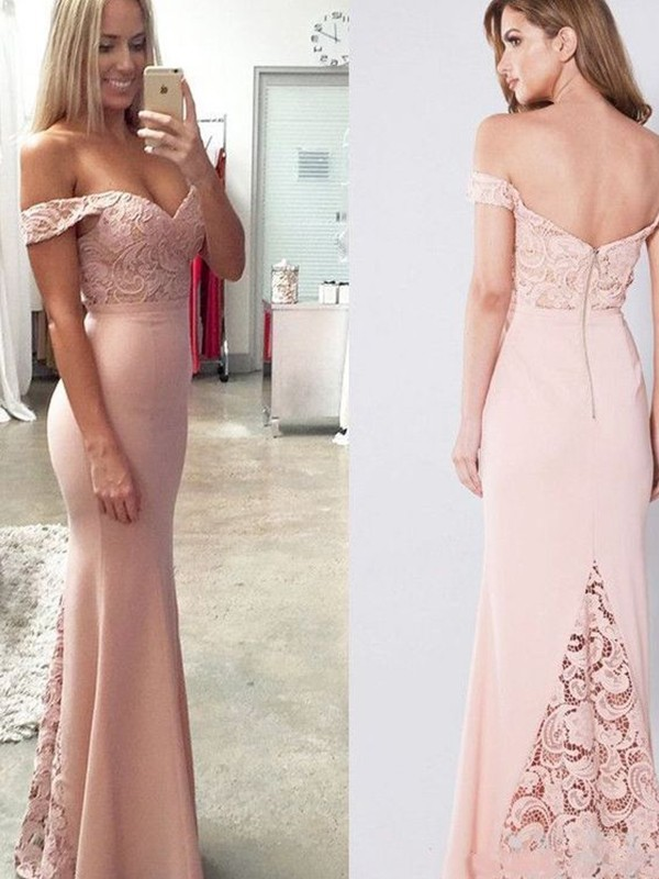 Pearl Pink Spandex Off-the-Shoulder Sheath/Column Floor-Length Dresses