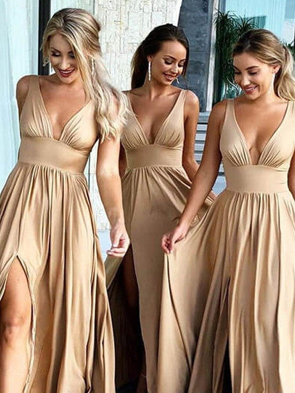 Champagne Silk like Satin V-neck A-Line/Princess Sweep/Brush Train Bridesmaid Dresses