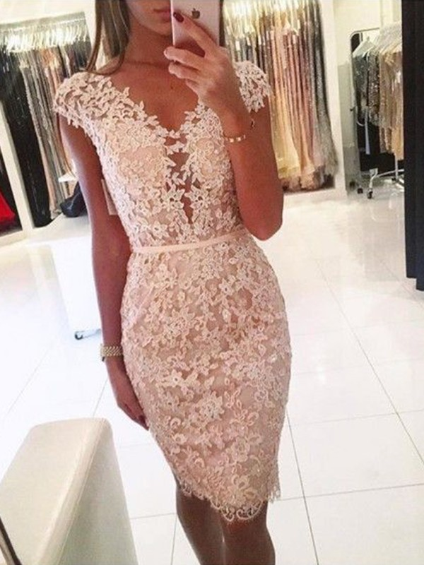 Pearl Pink Lace V-neck Sheath/Column Knee-Length Dresses