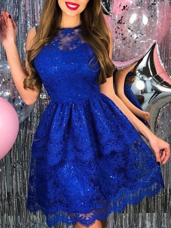 Royal Blue Lace Sheer Neck A-Line/Princess Short/Mini Dresses