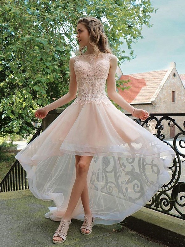 Pearl Pink Organza Sheer Neck A-Line/Princess Asymmetrical Dresses