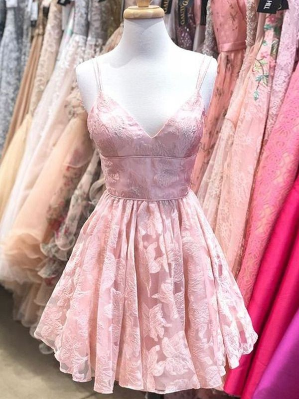 Pink Lace Spaghetti Straps A-Line/Princess Short/Mini Dresses