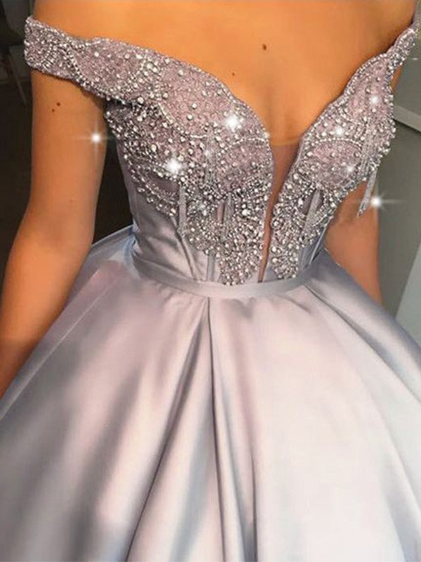 Silver Satin Off-the-Shoulder Ball Gown Floor-Length Dresses