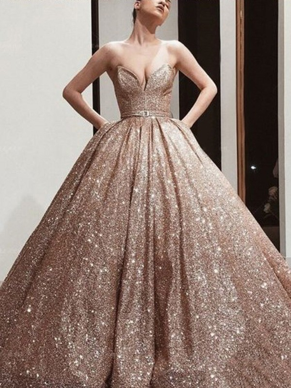 Champagne Sequins Sweetheart Ball Gown Floor-Length Dresses
