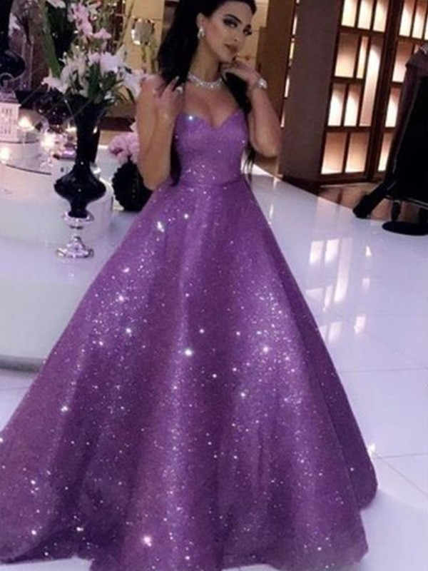 Regency Sequins Sweetheart Ball Gown Sweep/Brush Train Dresses