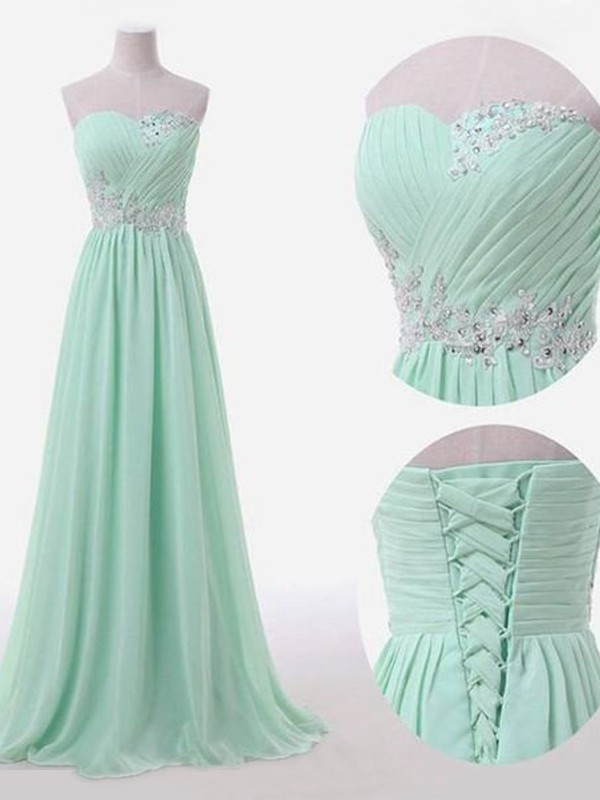 Green Chiffon Sweetheart A-Line/Princess Floor-Length Bridesmaid Dresses
